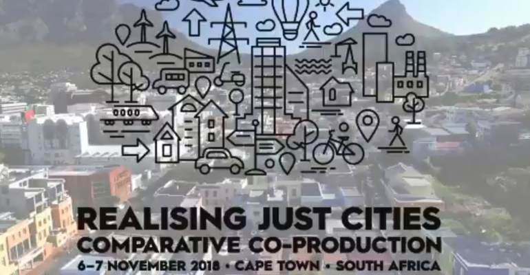 Realising Just Cities conference logo, superimposed on an image of Cape Town, South Africa